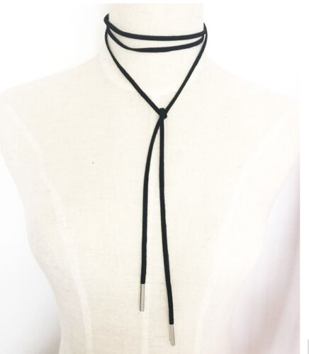 70/'s Boho Wrap Around  Black Faux leather  Cord Choker Necklace GOLD Barrel End