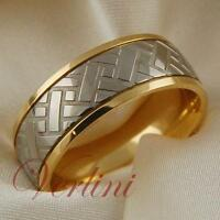 Titanium Men's Ring 14k Gold Wedding Band Tire Design Size 6-13