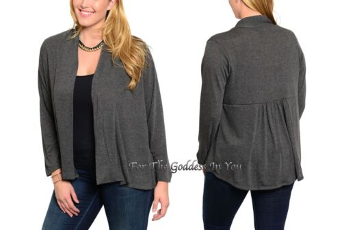 J47 CHARCOAL GRAY OPEN FRONT JACKET LONG SLEEVE CARDIGAN WOMENS PLUS SZ 3X 24//26