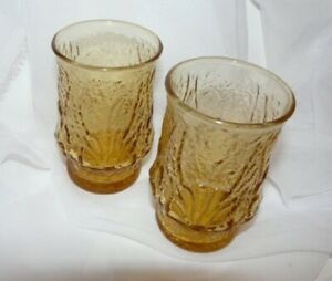 2-Anchor-Hocking-Gold-Amber-Juice-Glass-RAINFLOWER-6-oz-Tumblers-Set-of-TWO
