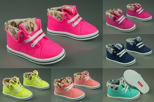 Girls canvas shoes high ankle HI TOP trainers baby toddler size 7-11UK KIDS