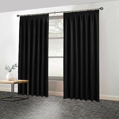 Thermal PENCIL PLEAT Blackout PAIR Curtains Fully Ready Made  Free Tiebacks