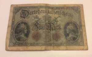 German 1914 5 Mark Bank Note - <span itemprop='availableAtOrFrom'>Inverness, United Kingdom</span> - German 1914 5 Mark Bank Note - Inverness, United Kingdom