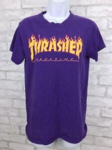 Vintage Thrasher Magazine Short Sleeve T-Shirt Skateboarding - Purple Size Small