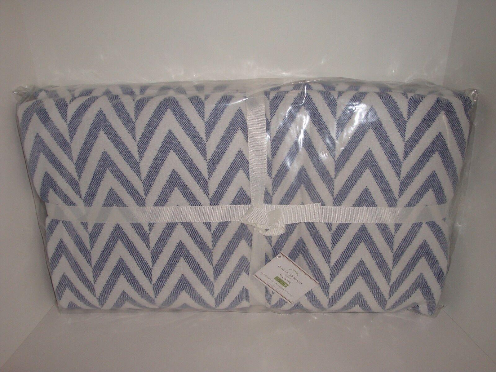 Pottery Barn Chevron Twilight bluee White King Blanket NIP Zig Zag Jersey Knit