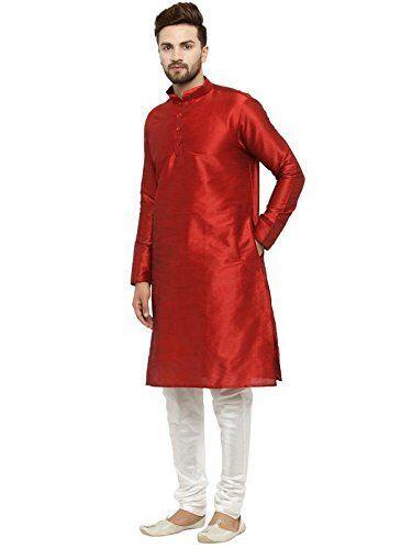 Indian Traditional Men/'s Art Silk Wedding Wear Kurta Pajama Set Bollywood Dress