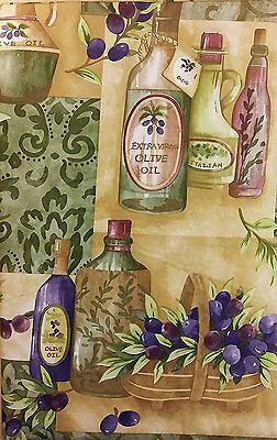 Tuscan Vineyard Olives vinyl flannel backed tablecloth tablecover 60 inch round