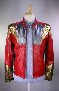 NWT-New-BELSTAFF-Red-Gold-Metallic-039-Iron-Man-039-Leather-Limited-Ed-Jacket-M
