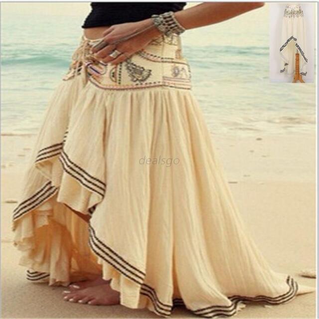 Women's Gypsy Boho Tribal Floral Skirt Maxi Summer Beach Long Casual Skirt Dress