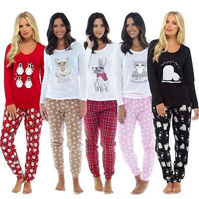Ladies Novelty Rabbit Design Pyjama Set with Tartan Fleece Bottoms Pj Sleepwear
