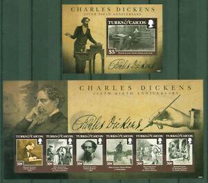 Îles Turques + Caicos 2012-charles Dickens-littérature-auteur - 1893-98 + Bloc 241 Dans La Douleur