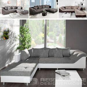 Wohnlandschaft geschwungen  Design Ecksofa SULTAN Strukturstoff FARBWAHL großes Sofa Couch ...
