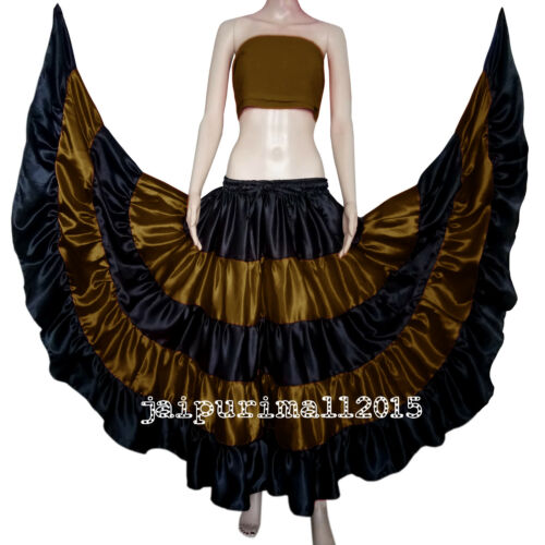 Satin 25 Yard 5 Tiered Gypsy Skirt Belly Dance Ruffle Jupe Flamenco Rock S~3XL