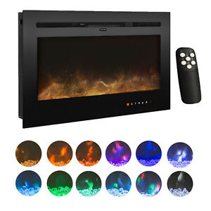 36''/50''  Electric Fireplace Wall/Recess Mount Heater multi Flame LED Screen