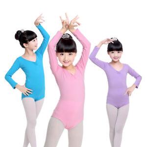 Girls-Leotard-Gymnastics-Ballet-Dance-Wear-Skate-Dress-Kids-Cotton-Costume-4-14Y
