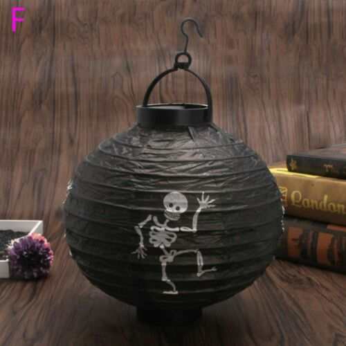 Halloween Paper Pumpkin Hanging LED Lantern Holiday Party Home Decor 6 Types