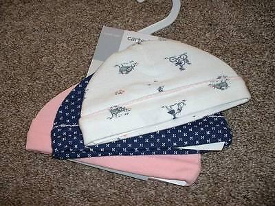 Carter's Baby Girls Pink Navy Park Hat 3pk Set Size 0-3 months Beanie 3M NWT NEW