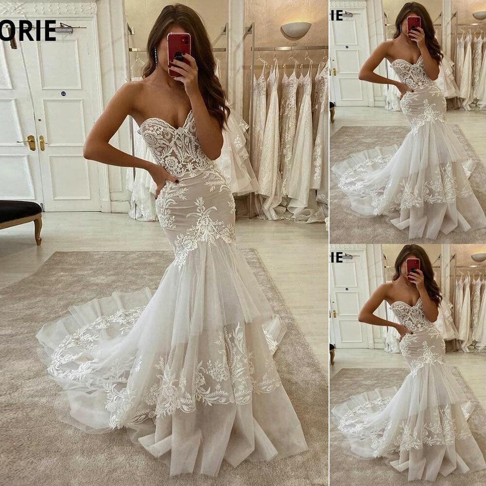 Mermaid Wedding Dresses Lace Appliques Sweetheart Princess Turkey Vintage Gown
