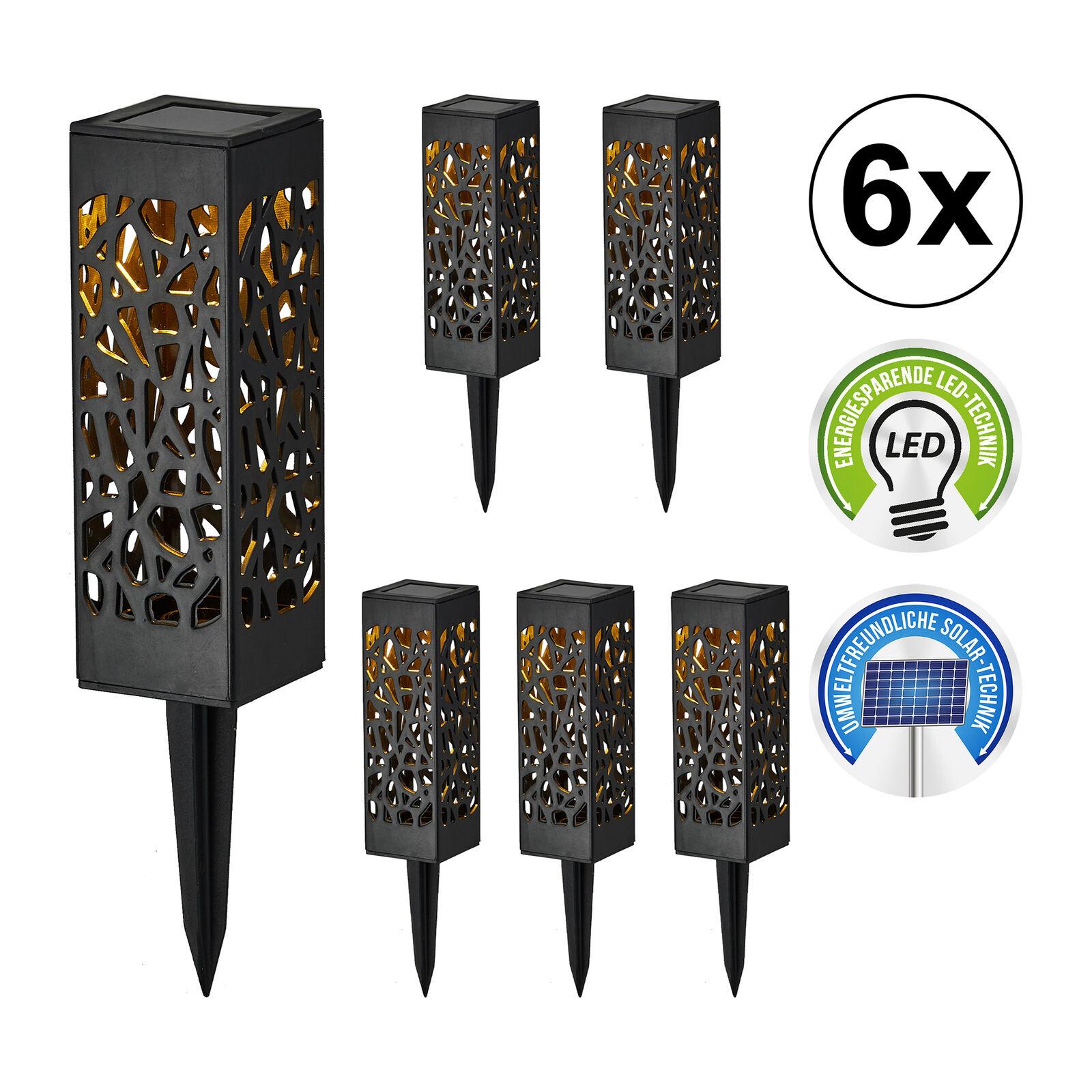Wegbeleuchtung LED Solar IP44 Bodenstecker schwarz Solarlampe Bodenleuchte H18cm