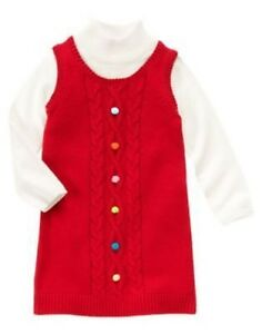 Details about gymboree cozy cutie red cable pom sweater dress 5 6 8 9