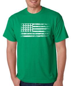 Irish-Flag-clovers-Saint-Patrick-039-s-Day-funny-party-gift-crew-neck-T-Shirt
