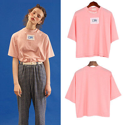 Harajuku Letter Embroidered Applique T-shirt Women Girl Short Sleeve Tee Summer