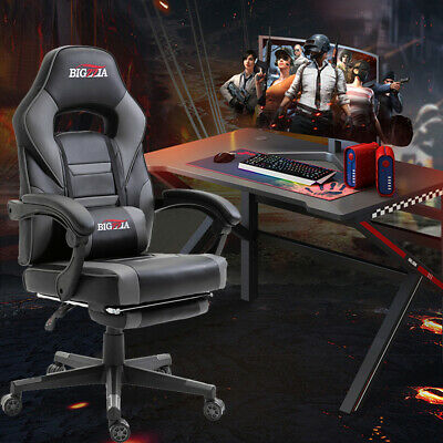 Bigzzia Office Gaming Game Chair Home Computer Desk Recliner Swivel Leather Grey Ebay