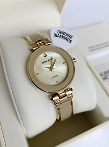 Anne Klein Watch * 1980TMGB Mother of Pearl Tan & Gold Steel Bangle COD PayPal