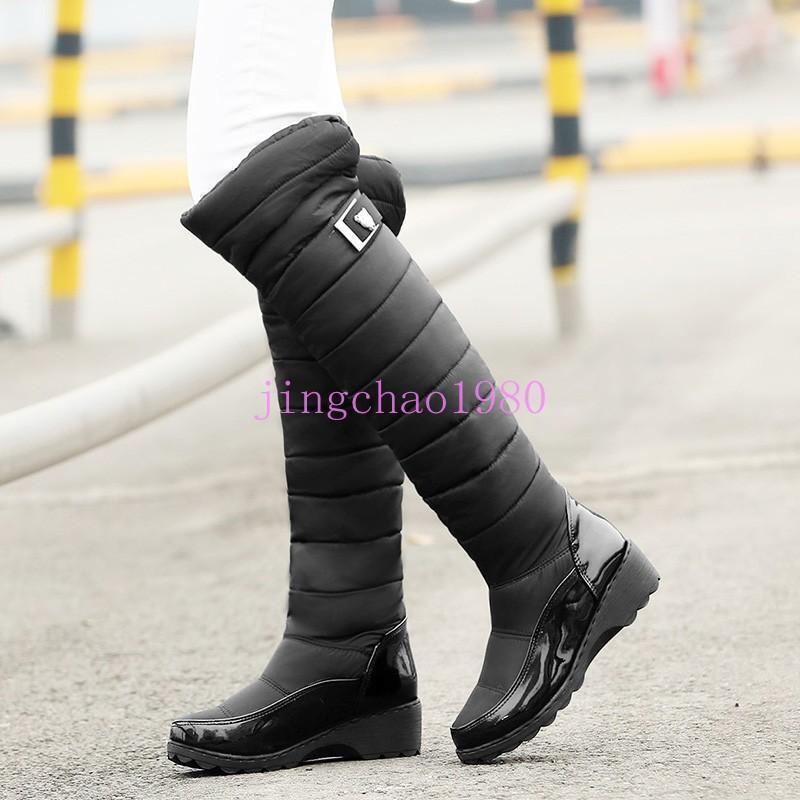 Hot Womens Winter Snow Boots Wedge Mid Heels Fur Lining Warm Knee High Boots Ch