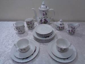 21-PC-Convolute-Coffee-Service-Wunsiedel-Design-Porcelain-Vintage-Violet