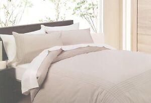 New-In-2-Linen-Beige-Pintuck-Queen-Size-Quilt-Doona-Cover-Set-Cotton-Blend