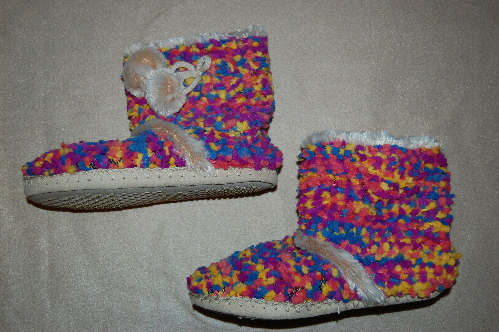 Womens Slippers HIGH TOP BOOTIES Orange Purple Pink Blue Yellow PLUSH S 5-6