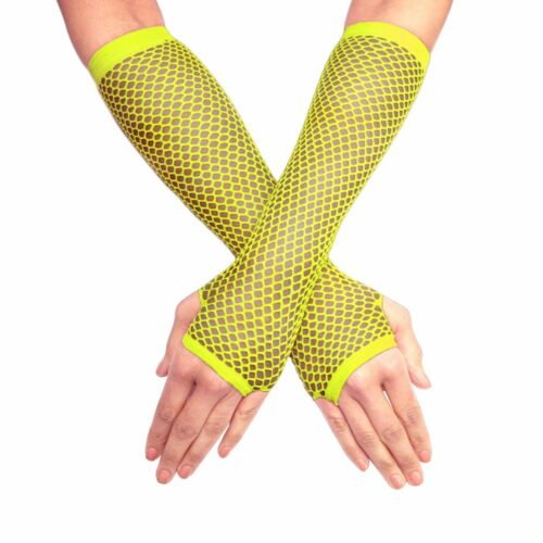Neon Yellow Bright Elbow Length Fingerless Fishnet Rave Party Clubbing Gloves
