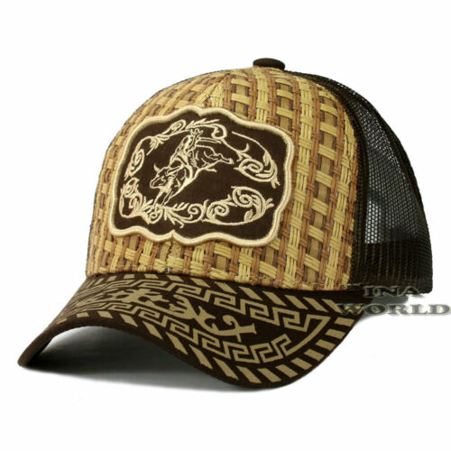 RODEO COWBOY Straw Woven Hat Embroidered Mesh Trucker Snapback Baseball Cap