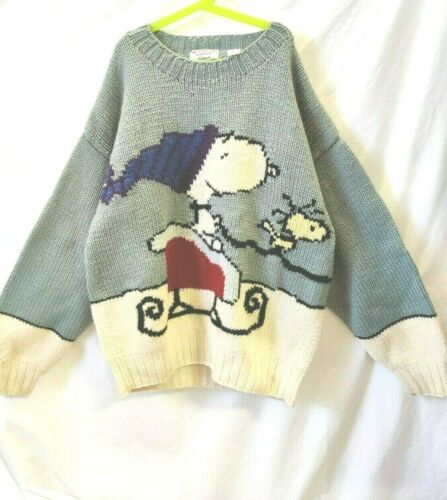 Vintage Snoopy and Friends Sweater Snoopy Sleigh W