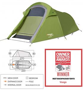 Vango Soul 200 2 Man Liegeplatz Person Camping kompakte Wandertunnelzelt 2019 Grün