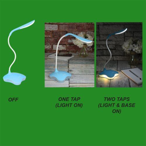 DEL bleue On Off Touch Sensor USB//Batterie Bureau Lampe à Lumière /& Veilleuse Fonction