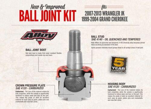 Alloy USA Ball Joint Kit 11800 Jeep Wrangler JK 07-18 /& Grand Cherokee WJ 99-05