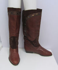 RUSSELL & BROMLEY BOOTS BROWN LEATHER SUEDE METALLIC EMBELLISHMENTS 37 1/2 6.5 7