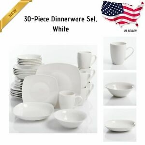 30 Piece Porcelain Dinnerware Set Square Dinner Plates Dish Service For 6 White 4854090376158 Ebay