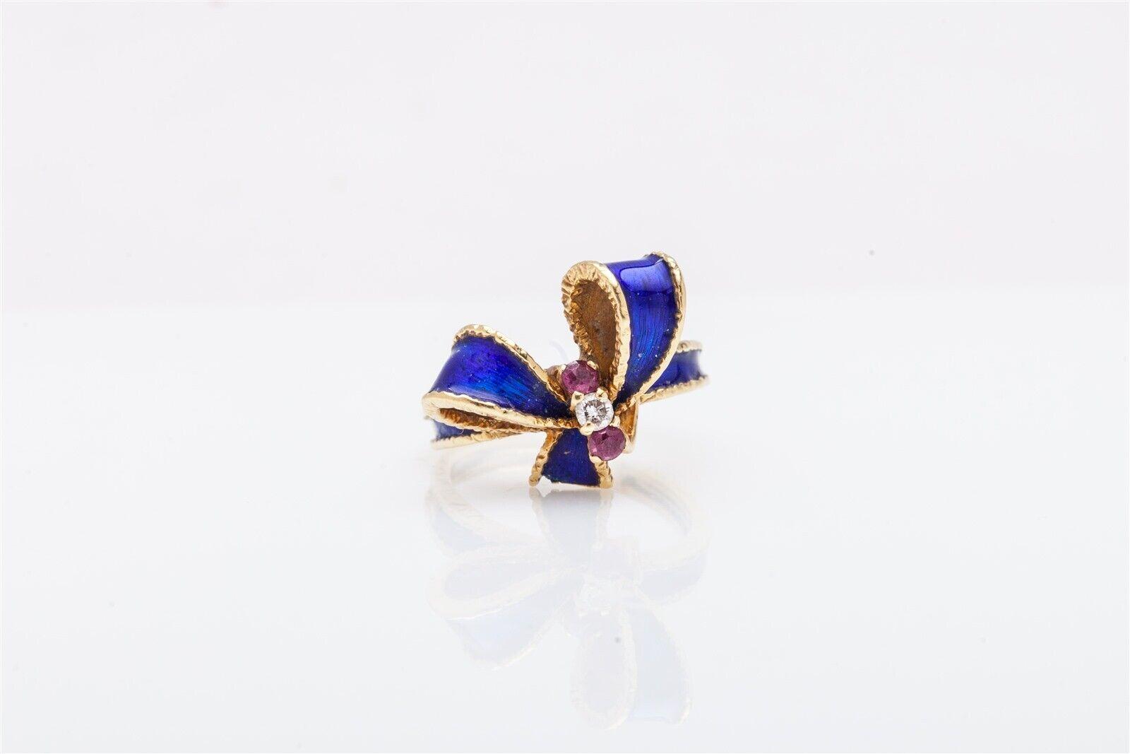 Antique RUSSIAN bluee Cobalt Enamel Ruby Diamond 1940s RETRO BOW TIE Ring 6g