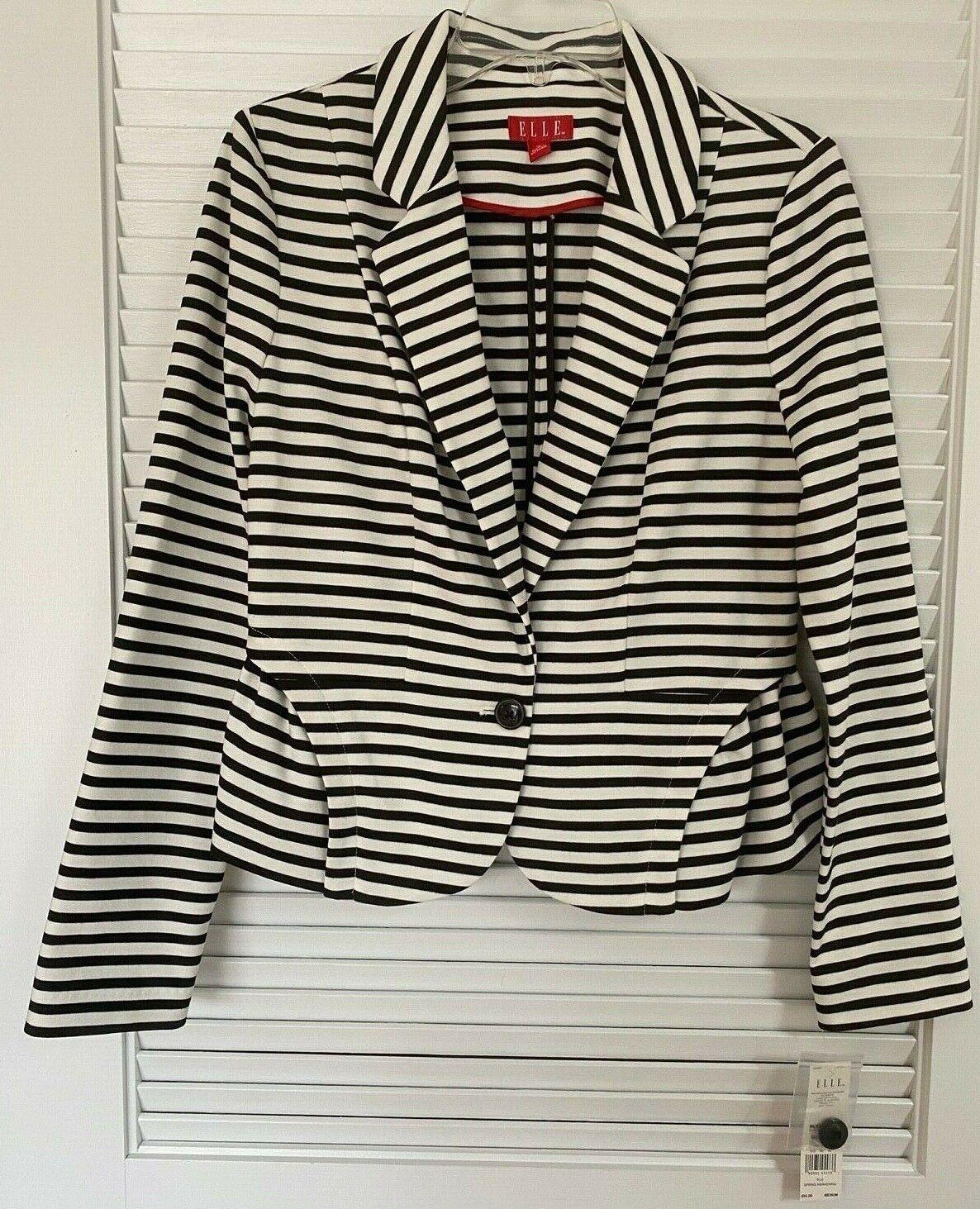 ELLE Striped Jacket One Button Close Black White Women's Size Small M NEW