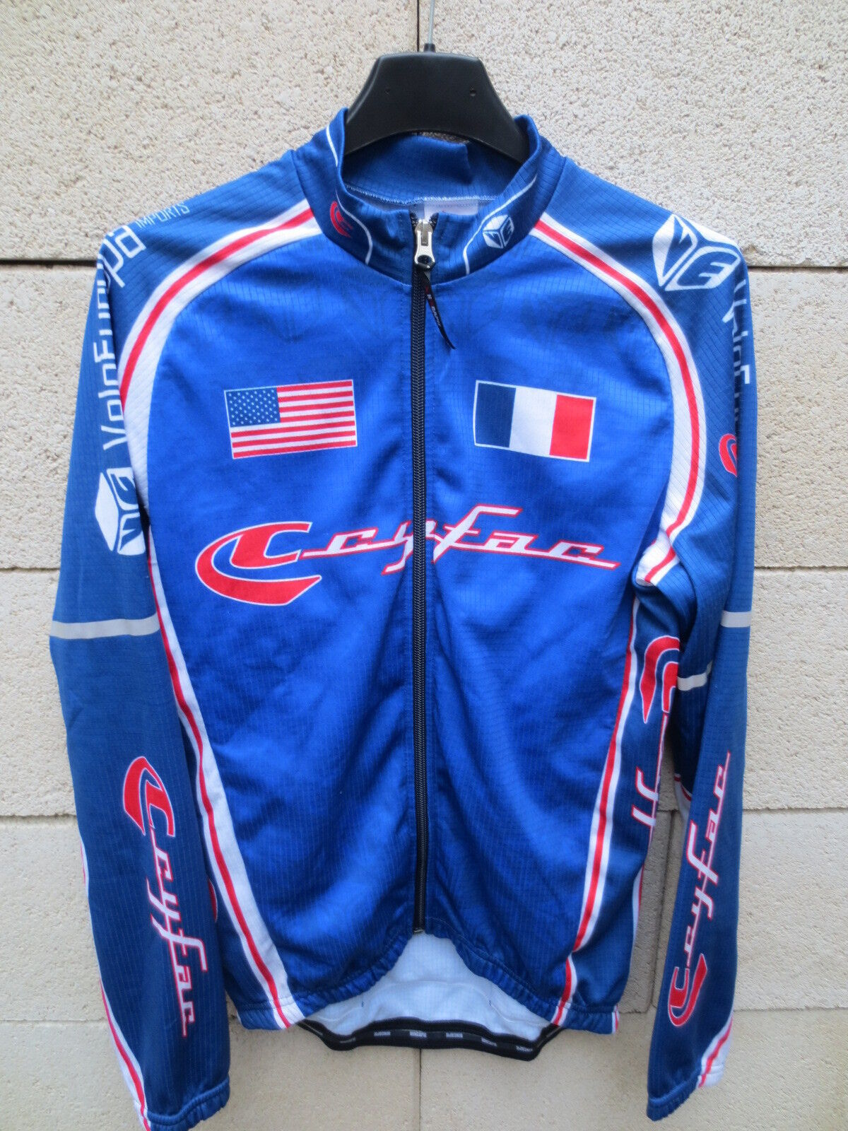 Maillot cycliste CYFAC VELOEUROPA France USA cycling shirt XS manches longues