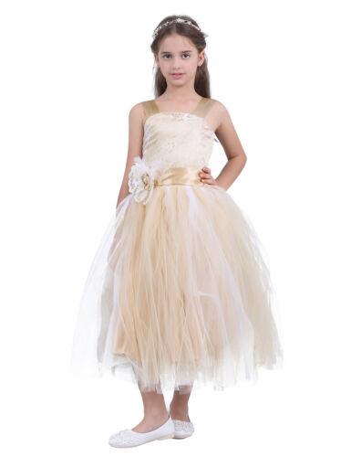 UK Flower Girls Princess Dress Kids Bridesmaid Wedding Party Sleeveless Dresses