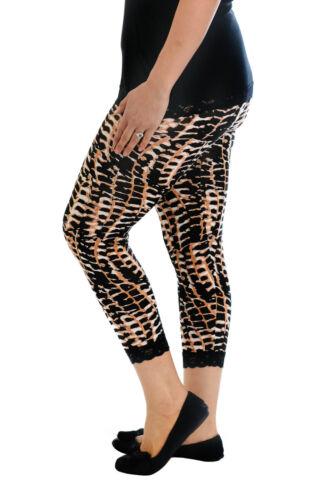 Womens Leggings Ladies Plus Size Cropped Tie Dye Lace Trim Cuff Trouser Nouvelle
