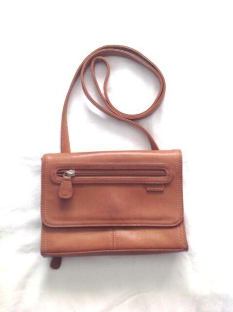 ea336e129d7 FOSSIL S Leather Cognac Brown Organizer Wallet Crossbody Minimalist Travel  Purse