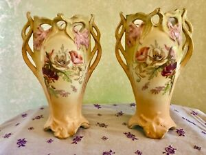 2-Royal-Wettina-Robert-Hanke-Mirror-image-Hand-painted-Vases-Austrian-Empire