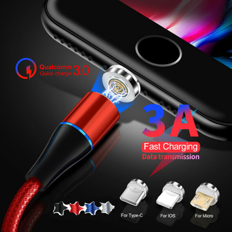3A 360° Magnetic iOS Micro USB Type-C Fast Charger Cable iPhone Samsung S9