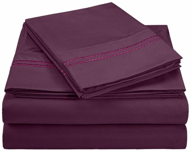 WRINKLE FREE SHEET SET SOLID-2 LINE EMBROIDERY-LILAC
