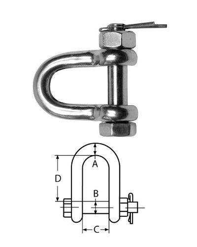 Rundschäkel, Schäkel mit Sicherungsbolzen, Edelstahl | 25mm